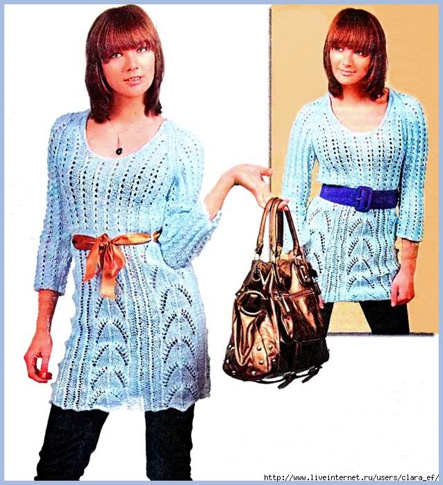 ажурная туника, схема вязания спицами, ажурное вязание.