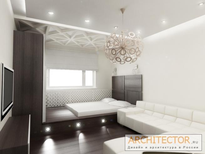 встроенный подиум и шкаф позволяют спрятать мебель и наполнить функциями это ограниченное пространство.