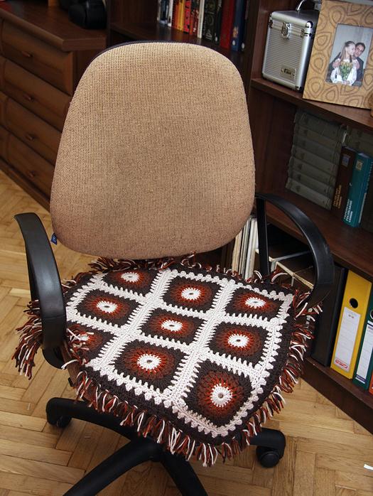 Вязание коврик на стул крючком 17