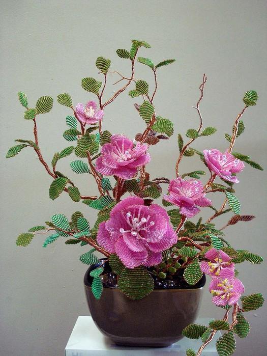Цветы из бисера схемы в