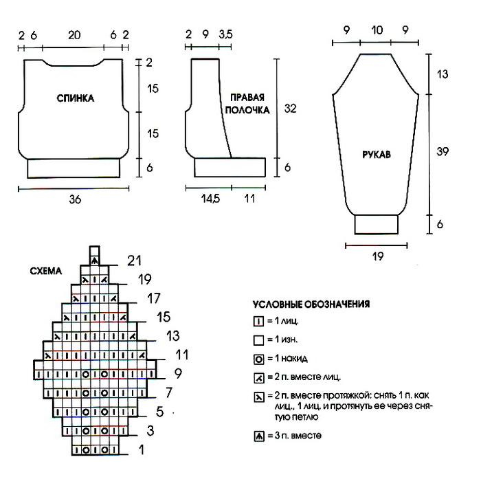 Узор ажурные листики (вязание спицами, схема) .