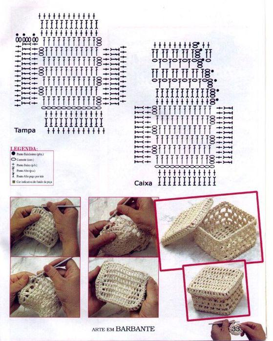 Схема шкатулки крючком со схемами