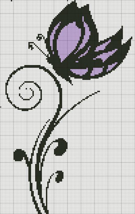 Babochka7 (100=155) Монохромная схема для вышивки бабочки.  Монохром.  Животные.