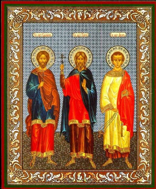 ИКОНА СВЯТЫМ СТРАСТОТЕРПЦАМ ГУРИЕ, САМОНЕ И АВИВЕ .  ... . (им молятся о покровительстве семейного очага...
