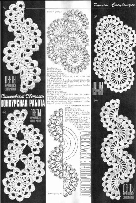 Фото и схемы ленточного кружева крючком