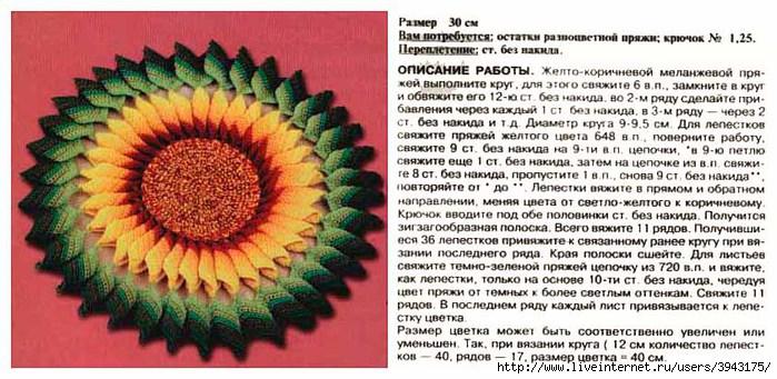 Схемы вязания подсолнуха крючком 73