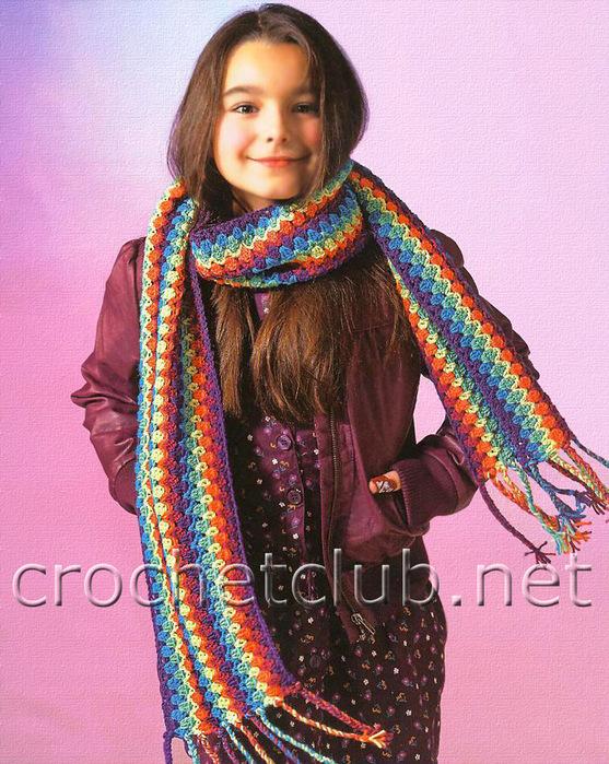 Длина шарфа:170 см. Вам потребуется:по 50 г пряжи фиолетового, цикламенового, бирюзового, зеленого, желтого и...