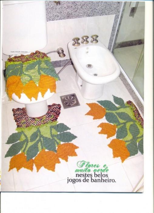 Вязаные коврики для ванны и туалета