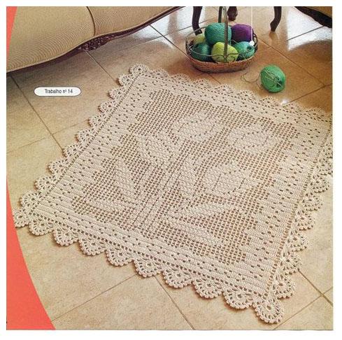 Филейное вязание крючком ковриков из