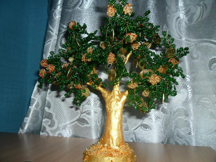 Денежное дерево из бисера как сделать