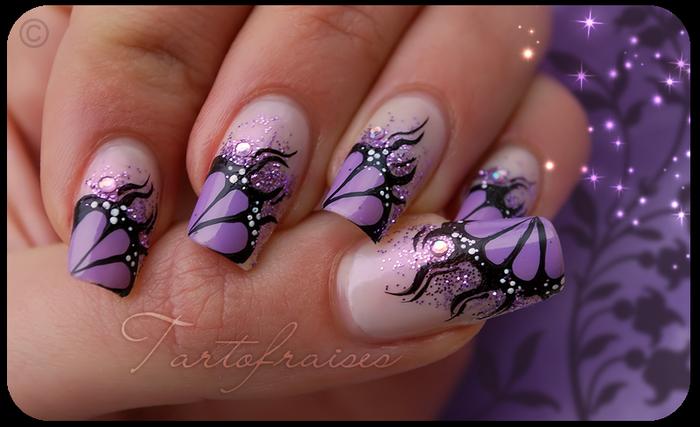 Фиолетовый цвет ногтей дизайн