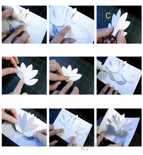 видео объемный цветок из