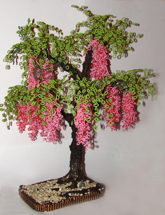 бисером цветы деревья