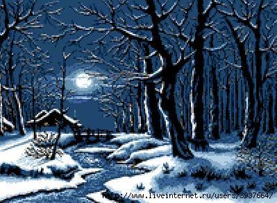 Разместил(а). Описание: Схема для вышивки крестом - Зимний Вечерний Пейзаж в формате xsd.