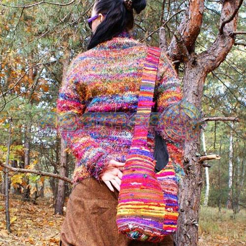 Вязаная полосатая хипповая сумка (через плечо) - купить Сумки.