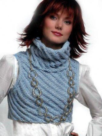 Для вязания безрукавки Вам потребуется: * 300 г голубой пряжи Music Style Collection BLUES (40% cotton, 25% viscose...
