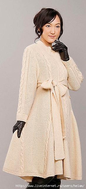 Пальто спицами из Pierrot.  Японский сайт Pierrot.