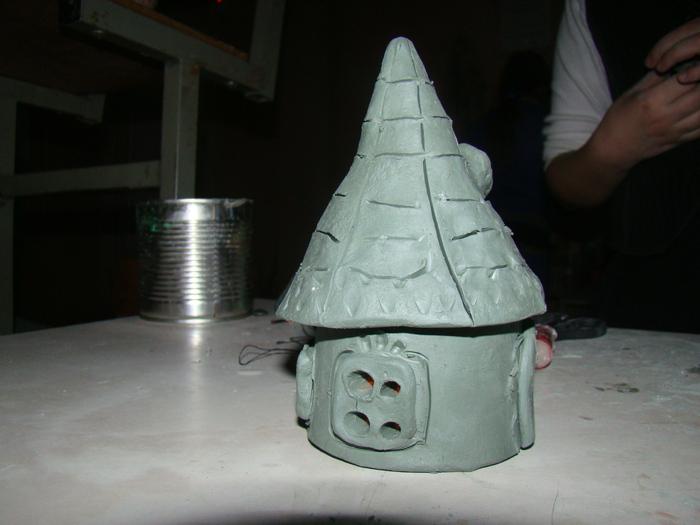 Подсвечники домики из глины своими руками