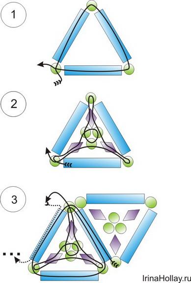 Схема плетения комплекта из бисера.