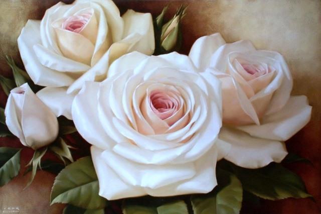 """Схема вышивки  """"Белые розы """" ."""