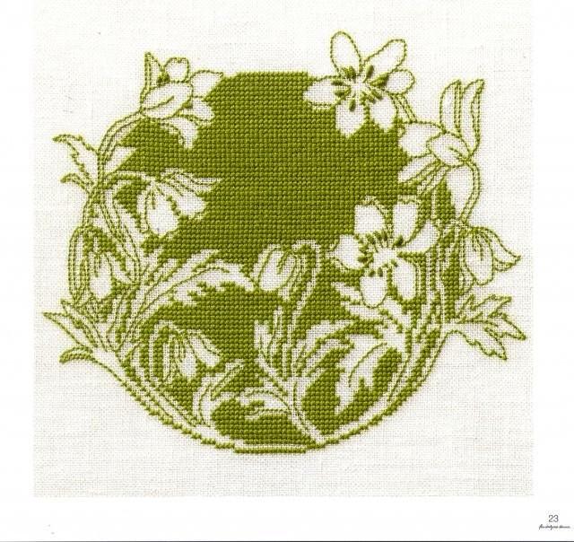 Вышивки монохром цветы 97