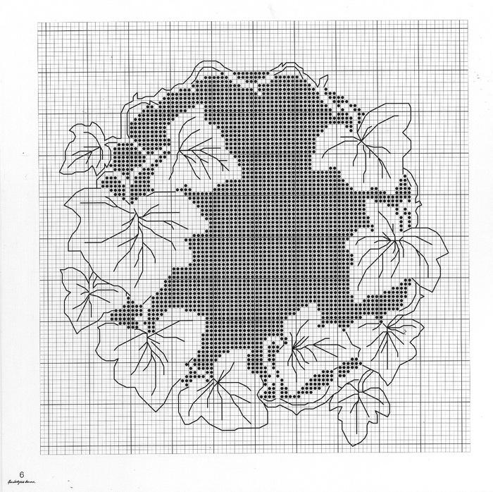 Чёрно белые цветы вышивка 84