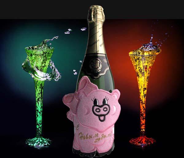 Украшение Новогоднего шампанского.