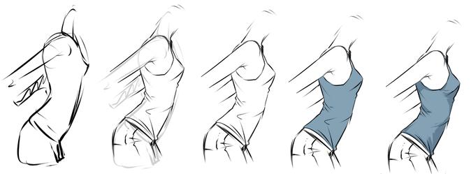 Как нарисовать одежду в аниме-
