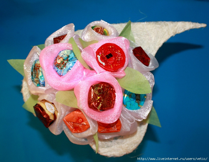 Как сделать букет роз из атласной ленты