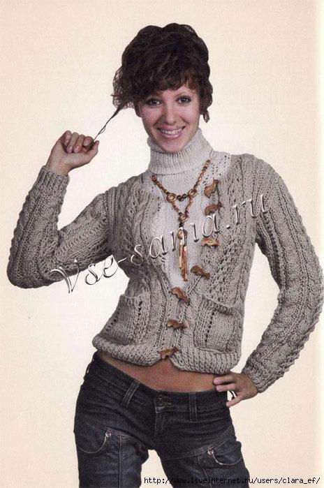 Схема вязания спицами: Женская кофта с карманами и гольф.