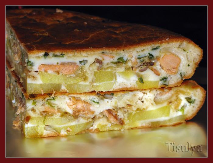 Рецепт пирог с рыбой и картошкой с пошагово