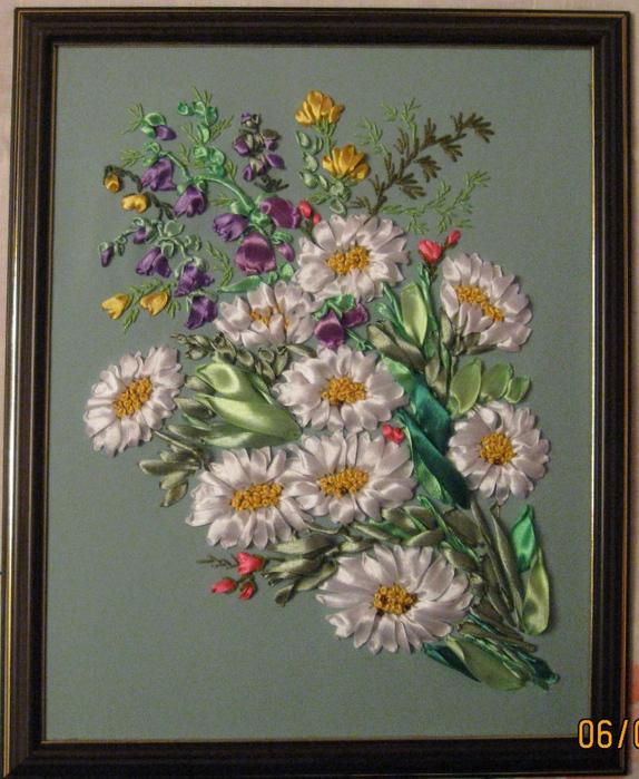 Схема вышивка лентами полевые цветы