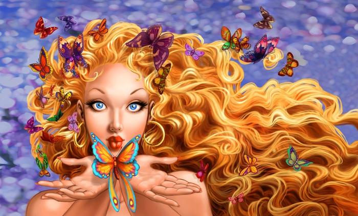 Леди и бабочки. картинка. бабочки. девушка. фэнтези.