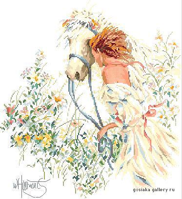 """137 x 150 крестиков, 31 оттенков палитра  """"Гамма """".  Схема вышивки крестом  """"Девушка и лошадь """" ."""
