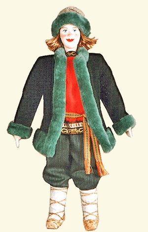 Кукла в русском костюме XIXв.  Мужской зимний костюм.