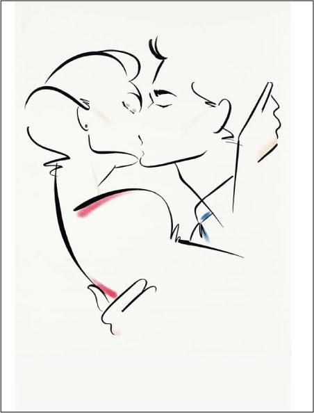 """Оригинал схемы вышивки  """"Серия  """"Графика любви.  Поцелуй."""