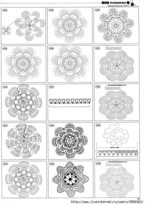 Схемы вязания разнообразных цветов.