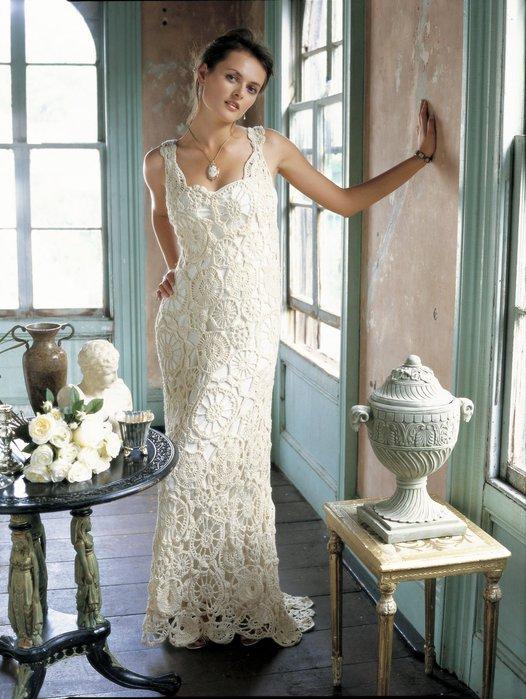 Вязанные свадебные платья крючком фото 7