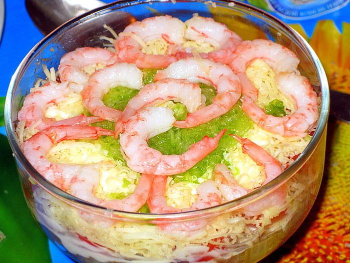 Новогодние салаты с креветки