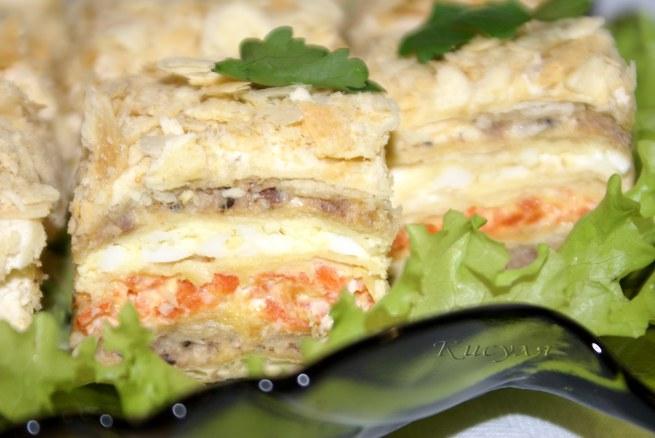 Закусочный пирог с рыбной консервой рецепты