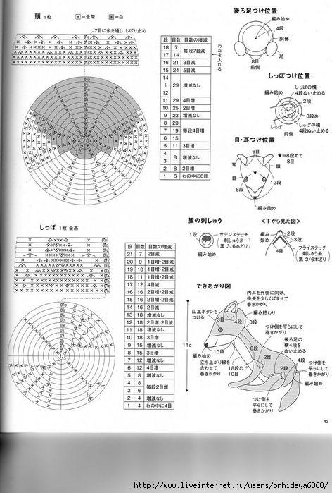 Лиса схема вязания крючком