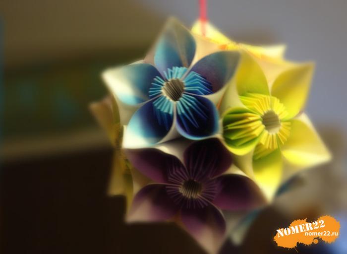 Оригами кусудама поделки из бумаги.