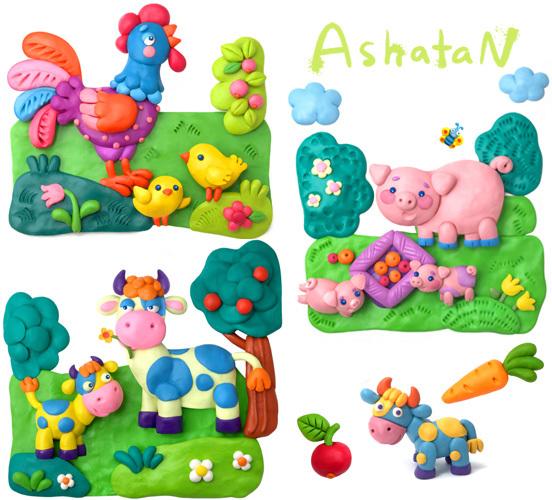 Красивые картины, интересные идеи для детского творчества. автор.  Лепка из пластилина для детей.