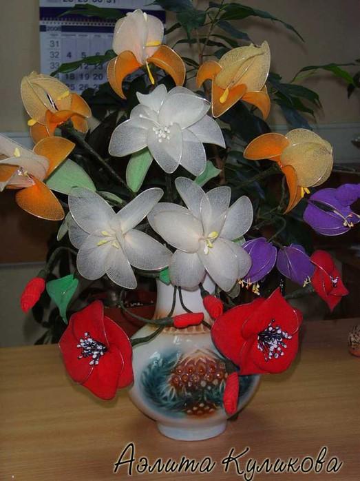 Цветы из шифона своими руками фото