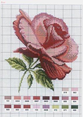 """Схема  """"Красная роза """" - скачать бесплатно Вышивай крестом."""