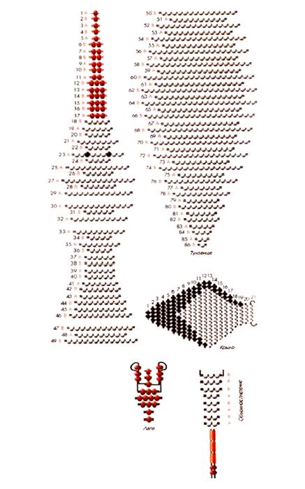 Птица аист из бисера схема