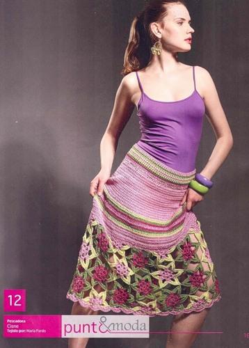 Описание: Вязаная юбка с цветами Вязание и.
