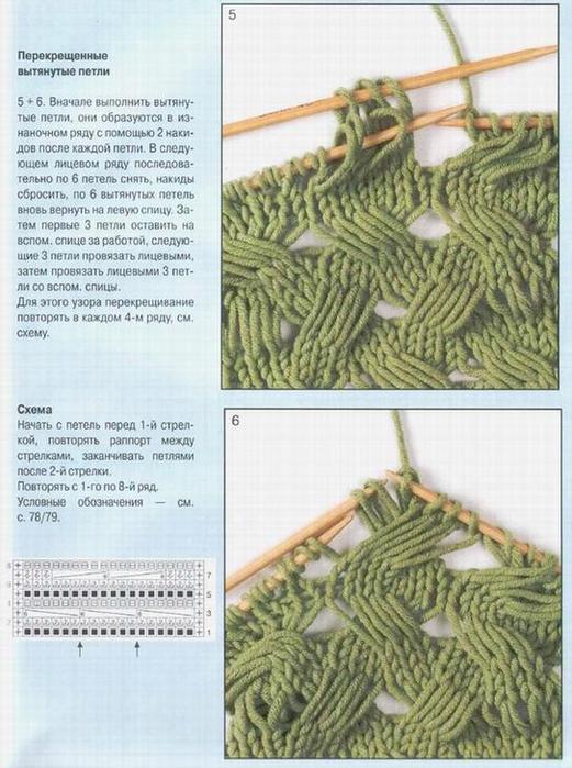 Вязание на спицах узоры из вытянутых петель