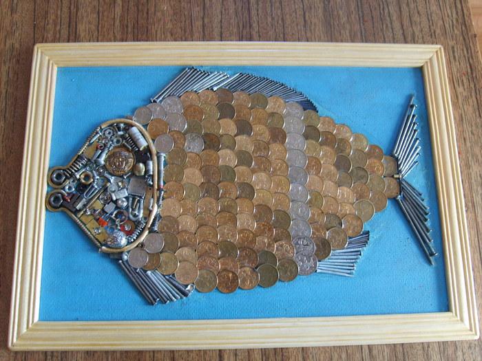 Рыбка из монеток своими руками