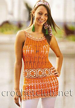 Часть 99. откровенные платья для стройных девушек. сарафан. сумочки + шапочки.  Оранжевая туника крючком.